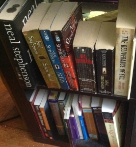 Mostly Neal Stephenson shelf & College books shelf