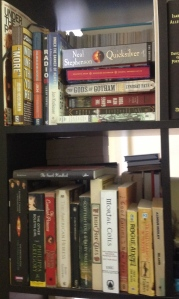 Assorted fiction and non-fiction shelves
